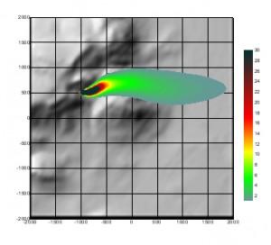 Exemple de l'effet d'une colline sur la dispersion atmosphérique 02
